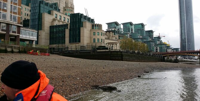 Rescue And Safety Boat Operations At SIS Vauxhall Bridge London